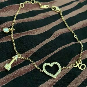 Nadri Silver and Crystal Love Heart Charm Bracelet